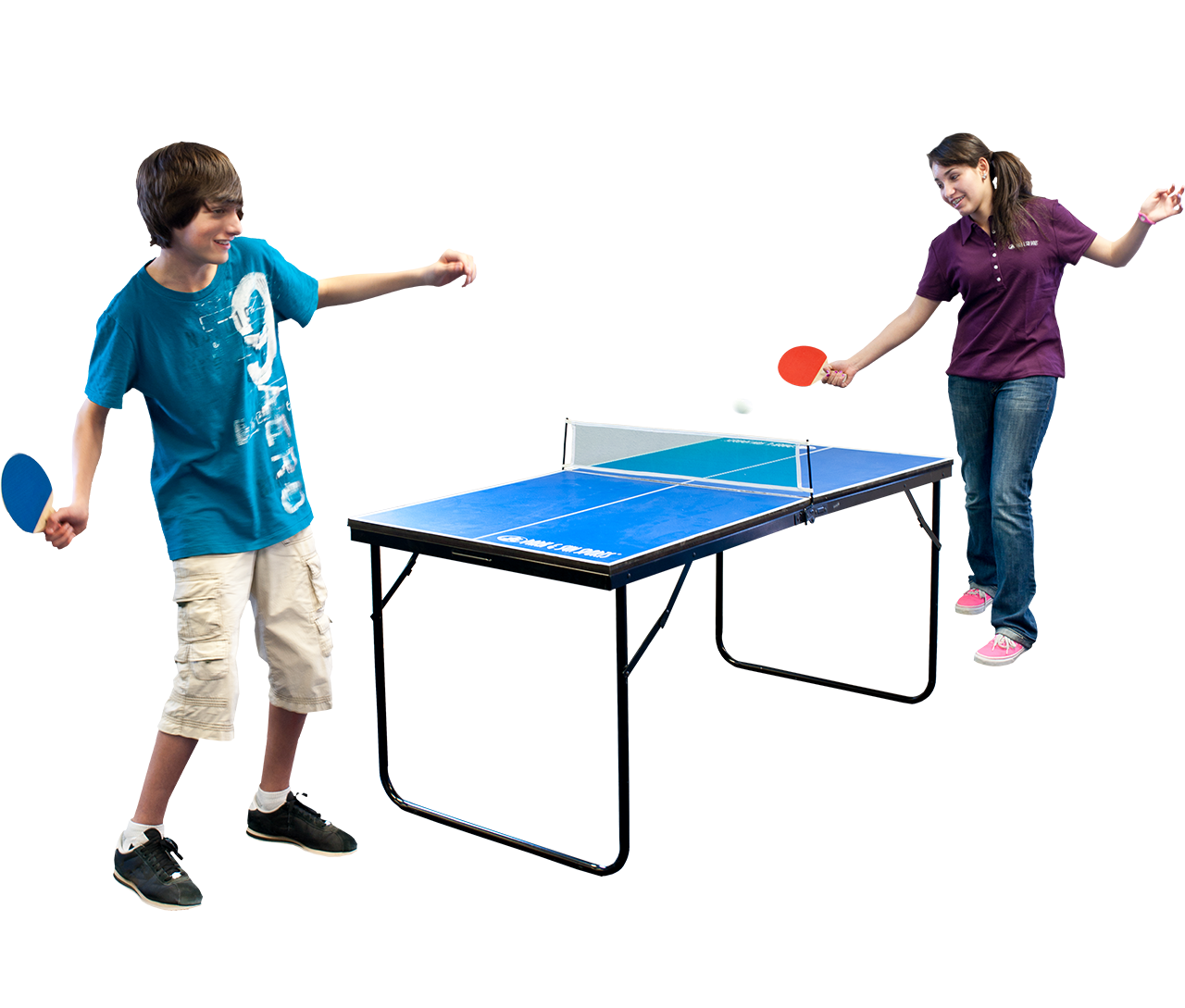 Park and Sports Blue Mini Table Tennis Table Action