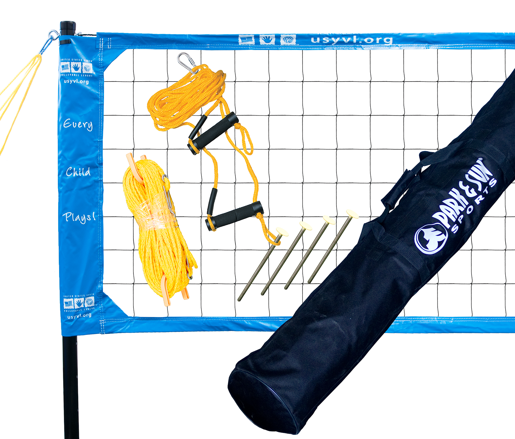 The Spectrum USYVL features our volleyball regulation size Spectrum net, which measures 32' L x 3' H, and is pre-attached to the poles. The net tapes are 2 in. top and bottom with reinforced corners and 6 in. side sleeves, which distributes the net tension evenly from the top to the bottom of the net.