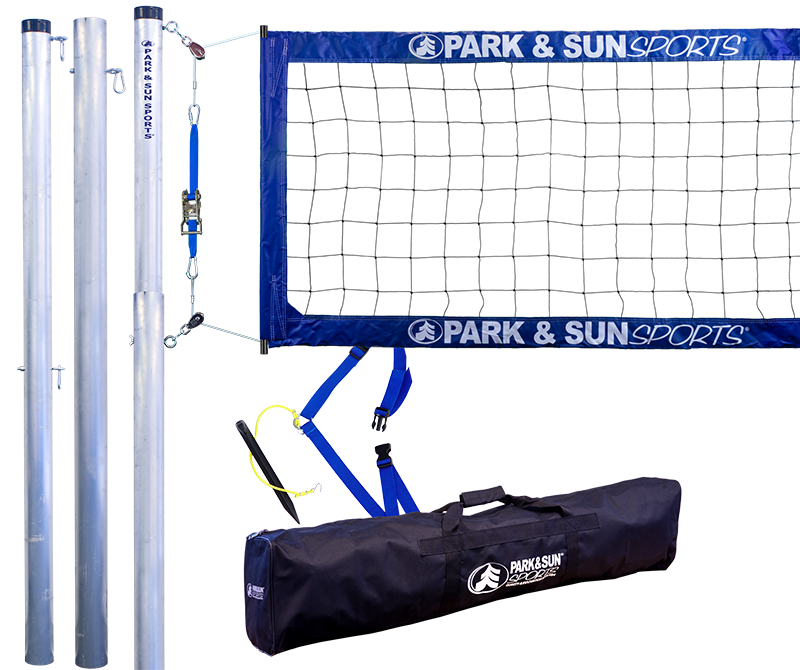 Park and Sports Blue Tournament 4000 Professional Telescopic Complete Outdoor Volleyball System