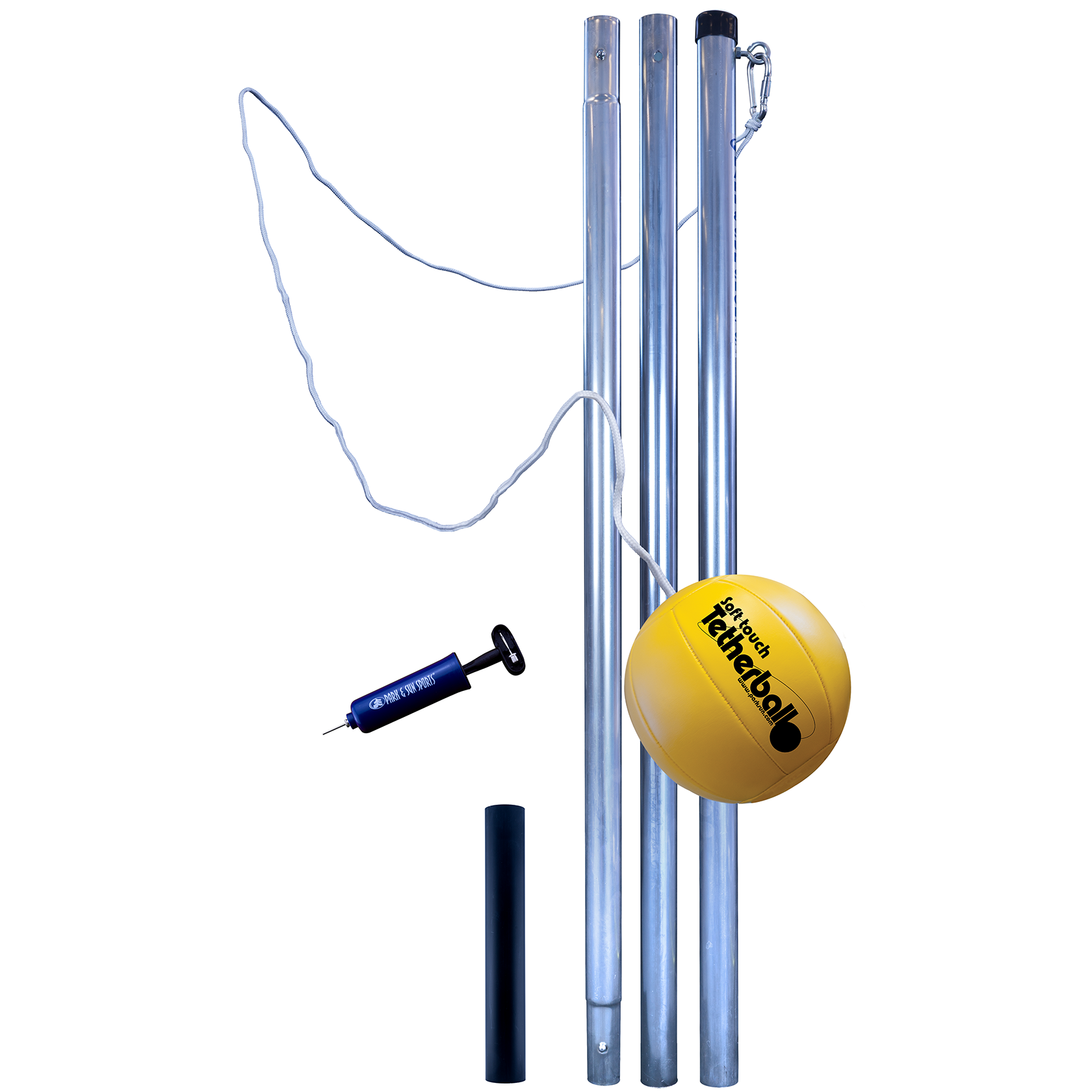Quality Outdoor Tp Set 3 Piece Deluxe Tetherball Set 1 5 8 Inch Galvanized Steel Poles