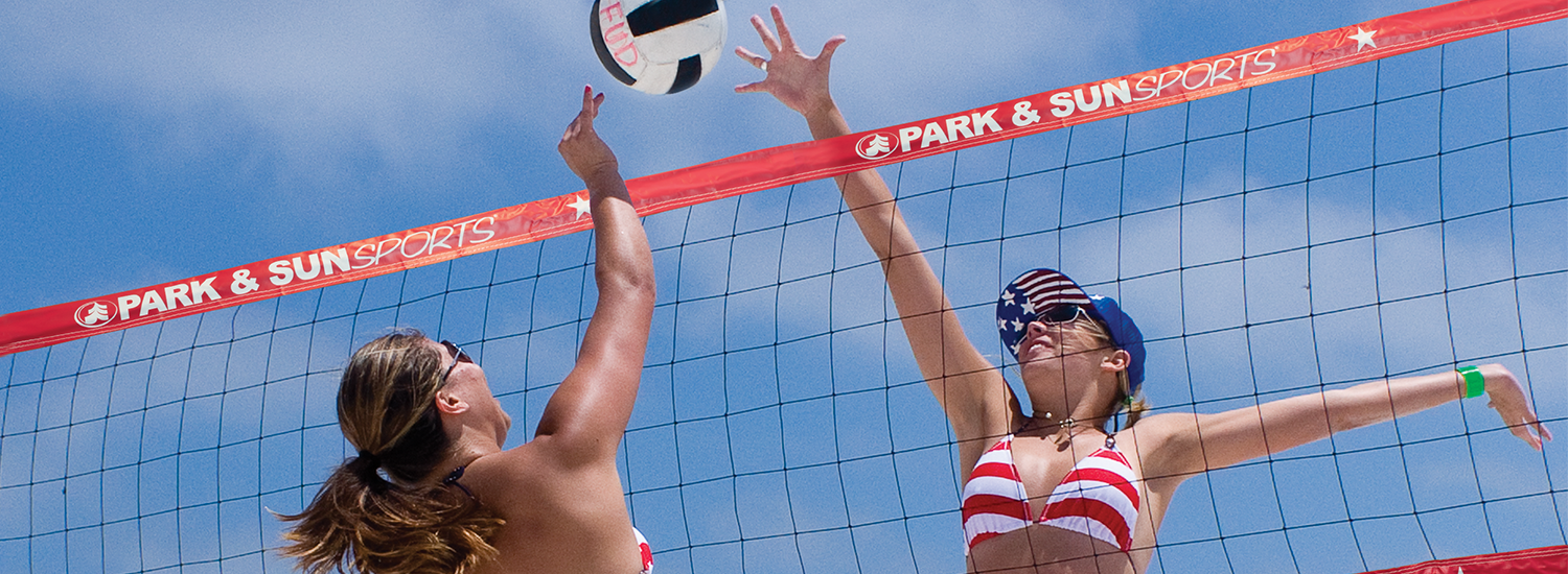 Womens beach volleyball, Red, white, and blue volleyball net
