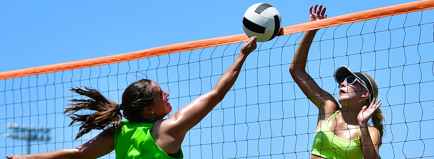 Mens and womens professional beach volleyball net